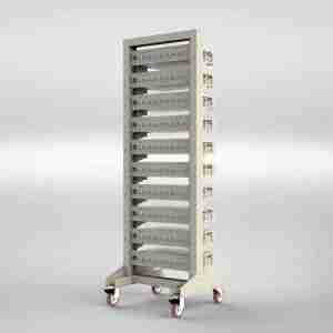 Movable rack with 10 shelves